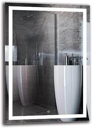 Specchio a Muro Specchio LED Deluxe Bianco Caldo 3000K Specchio per Bagno ARTTOR M1CD-49-40x40 Interruttore tattile Dimensioni dello Specchio 40x40 cm Specchio con Illuminazione