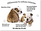 Merchandise for Fans Blechschild/Warnschild/Türschild - Aluminium - 20x30cm - -Willkommen in meinem Zuhause - Motiv: Englische Bulldogge - 03