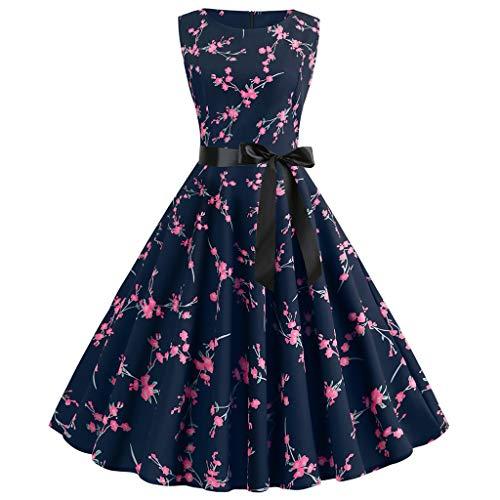 Aiserkly Damen Vintage Jahre Retro ärmellose O Neck Print Abend Party Prom Swing Dress Hot Pink L