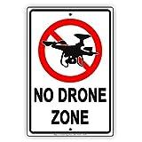 Plaque en aluminium avec inscription « No Drone Zone »