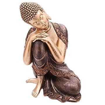 Decorativa figura de buda cabeza descansando sobre la rodilla 3