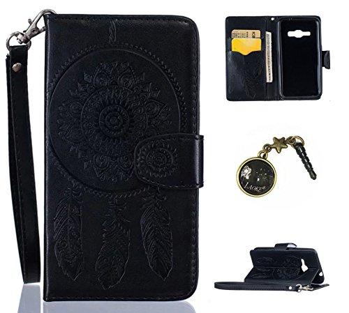 PU Cuir Coque Strass Case Etui Coque étui de portefeuille protection Coque Case Cas Cuir Swag Campanula Pour Samsung Galaxy J1 (2016) SM-J120F +Bouchons de poussière (4ZJ)