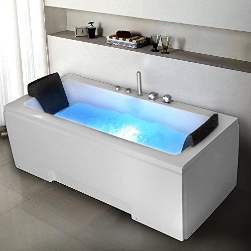 TroniTechnik Whirlpool Badewanne IOS 170cm x 75cm mit Spülfunktion, Hydromassage und Farblichtherapie