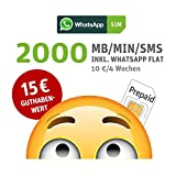 WhatsApp SIM Prepaid  - Starterpaket mit 15 EUR Guthabenwert, ohne Vertragsbindung, Option mit 2000 Einheiten f�r MB/MIN/SMS + EU inklusive, jederzeit k�ndbar, Surf-Geschwindigkeit: 21,6 MBit/s LTE Bild