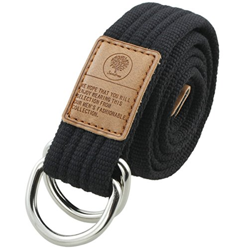 Shanxing Stoffgürtel für Damen und Herren Doppel D-ringe Leinwand Canvas Schnalle Gürtel,1-Schwarz(120cm Gesamtlänge), One Size
