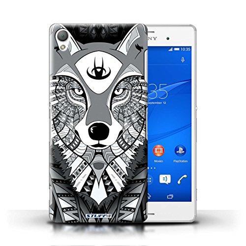 Kobalt® Imprimé Etui / Coque pour Sony Xperia Z3 / Hibou-Pourpre conception / Série Motif Animaux Aztec Loup-Mono