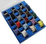 15+3 Nähmaschinenspulen 15 Unterfadenspulen bespult + 3 leer in Spulenbox blau