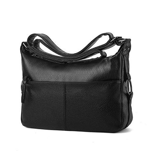 ZPFME Womens Tote Handtasche Weich Lässig Umhängetasche Shopper Leder Party Retro Bankett Verstellbar C