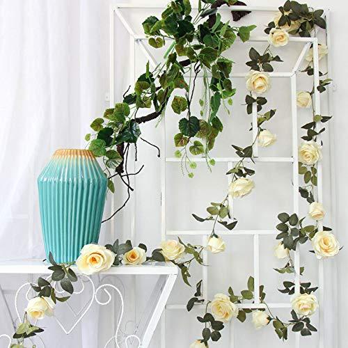 Le Fellie vignes de Rose en Faux Soie 9têtes de Rose Guirlande de Fleurs Vert Feuilles Floral Corde pour Maison Décoration de Jardin de Mariage (Blanc)