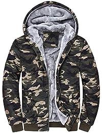 Toamen Manteau Hommes Hiver Chaud épais Zipper Sweat à capuche Faux Toison Veste  Nouvelle Arrivee ( fa5704955ca