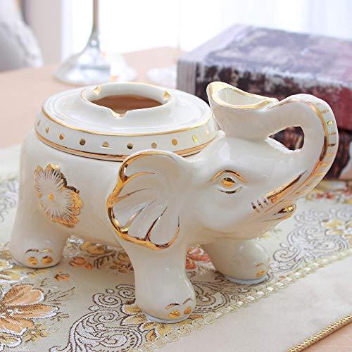 Joeesun Hochwertiger Keramik-Tissue-Karton im europäischen Stil, Retro-Papier, Pumpbox, Kaffeetischdekoration, Handy-Aufbewahrungsbox mit goldenem Keramik-Aschenbecher mit Elefanten