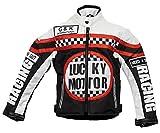 Kinder Bikerjacke in schwarz/weiß, Motorradjacke, Racing Jacke (L)