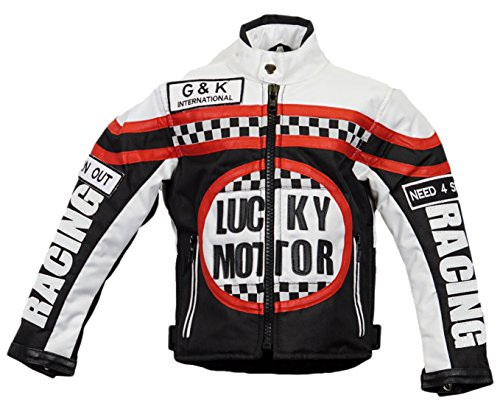 Kinder Bikerjacke in schwarz/weiß, Motorradjacke, Racing Jacke (S)