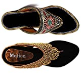 Thari Choice Women's Combo Of Velvet Ethnic And Fashion Wedges Heel Sandal