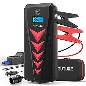 BuTure Arrancador de Coches 2000A/22000mAh,12V Arrancador de Baterias de Coche para Gas de 8L y Diesel de 8L, Arrancador Batería Coche con Cargador de Batería de Coche,Salida de DC &Dos Salidas USB