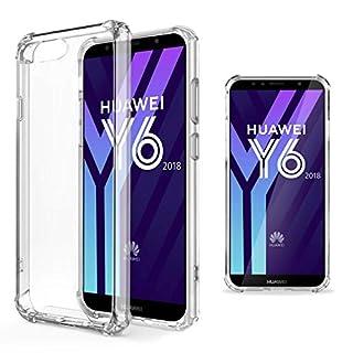 Moozy Transparent Silikon Hülle für Huawei Y6 2018 - Stoßfest Klar TPU Case Handyhülle Schutzhülle