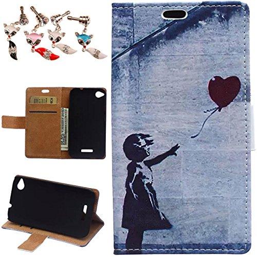 Mobilefashion PU Leder Tasche Schutzhülle Hülle Case für HTC Desire 320 Schale mit Karten Slots und Standfunktion(Grau . Rote Herzen J)+ 1x Staub-Stecker