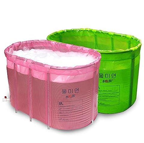 HHBO Pliant gonflable baignoire douche baril adulte plastique épaissie baignoire 110 * 60 * 65 CM, vert clair