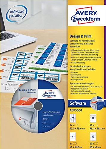 AVERY Zweckform ADP5000 Design und Print Software Vollversion