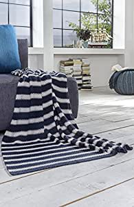 kuscheldecke decke streifen blau wei strickdecke maritim. Black Bedroom Furniture Sets. Home Design Ideas