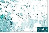 McAllen, Texas, USA Ursprüngliches Karten-Design Blue Stroke - Kunstdruck Foto Poster Art Print Geschenkartikel Karte - Maße: 60 x 40 cm