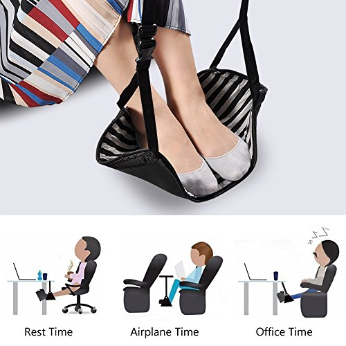 Travel Carry-on Foot Rest Portable Adjustable Footrest Hammock for Airplane Journey and Office Table