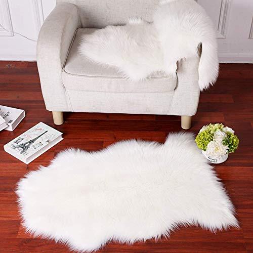 Teppiche Weich Stuhl Abdeckung Werfen Plüsch- Decke Flauschige Wolle Sofa Abdeckung Sitzmatten 6 cm Vlies,White,60x90cm(24x35inch) ()