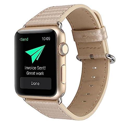 Kobwa 38MM/42MM Apple Watch Leder Band Armband , Luxuriöses Nobles Uhr-Band-Carbon-Faser-Wiedereinbau-Armband Echtes Leder IWatch Bügel für Apple Watch Series 2 Series 1