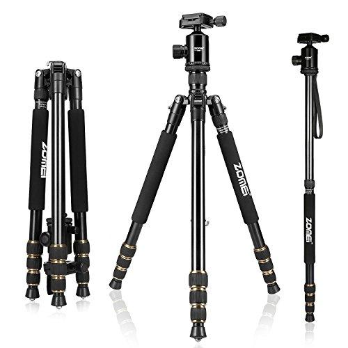 Leicht Reisestativ, Zomei 668 Tragbare 360 Grad Kugelkopf Tripod dslr slr Kamera Stativ Einbeinstativ für Einsteiger Fotografen und Canon Sony Nikon Kameras