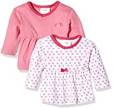 Twins Baby-Mädchen Langarmshirt im 2er Pack, Mehrfarbig (Weiss/Rosé 81112), 9-12 Monate (Herstellergröße: 80)