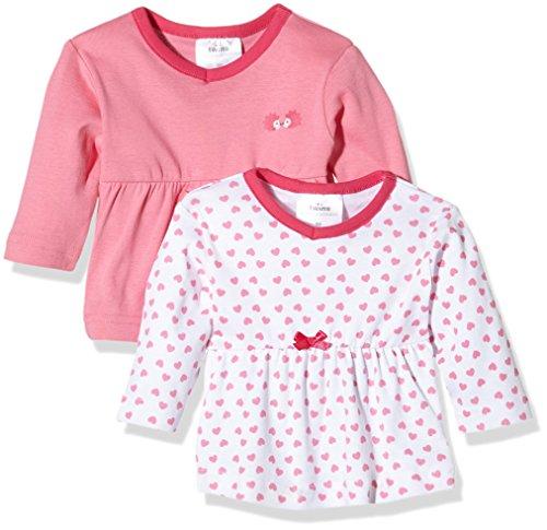 Twins 1 123 25, T-Shirt Bimbo, Mehrfarbig (Weiss/Rosé 81112), 24 Mesi (pacco da 2 )