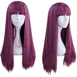 Ani·Lnc Descendants 2 pelucas largas rectas moradas planas para cosplay, disfraz de Halloween