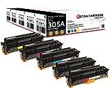 Original Reton Toner +30% mehr Druckleistung , kompatibel, 5er Farbset für HP PRO 400 COLOR MFP M475DN (CE410A, CE411A, CE412A, CE413A), HP 305A, LASERJET PRO 300 M375NW, M451DN, M451DW, M451NW, M475, M475DW