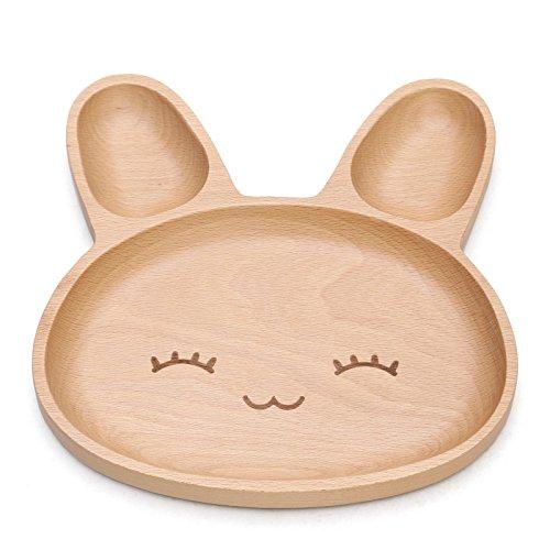Kinder Geschirr Teller Süße Hasenform Teller aus Holz 3Fächer aufgeteilt für Abendessen - Platten Aufgeteilt Kinder Für