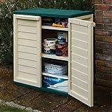 Outdoor Double Door Green & Cream Storage Cabinet with 2 Shelves