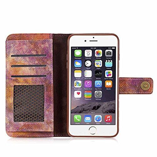 Custodia iPhone 6 / 6S [Protezione libera dello schermo], Dfly Foresta Stile PU Pelle Especially Powerful Portafoglio Funzione Design Chiusura Magnetica Flip Cover Per iPhone 6 / 6S, Grigio Rosso