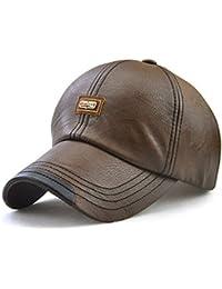 da1d835310f Sunbo Men s Baseball Cap Vintage Adjustable Suede Leather Hats with Snapback