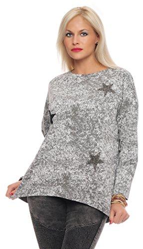 IKONA21 - Fashion Italy Damen Shirt Bluse Hemdbluse Tunika Longshirt Onesize S M L XL 36 38 40 42 44 500 194 Grau mit Weiß