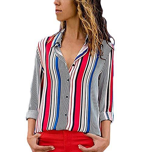 ITISME FRAUEN BLUSE Frauen Casual Striped Cuffed Langarm V-Ausschnitt Button-Up Farbe Block Bluse Tops Button Up Band