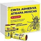 Atrapa moscas 20 unidades. Cinta adhesiva trampa atrapa moscas e insectos voladores. Libre de tóxicos, amigable con el medio ambiente.