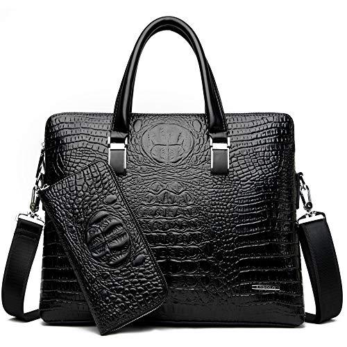 Gib niemals auf Männer Tasche Mode Neue Geschäfts Krokoprägung Handtasche Schulter Dokument Computer Geschenk Tasche Männer Tasche (Color : Black) - Geprägte Mode Handtasche