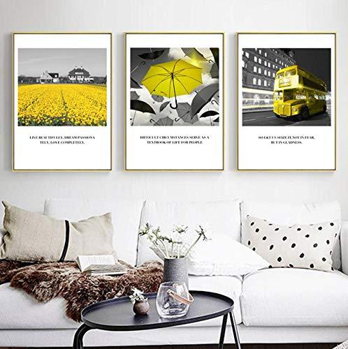 Yellow Art Picture Home Decor Wall Art Nordic Canvas Painting Umbrella Quote Modernos carteles e impresiones para dormitorio con marco 24x32inch (60x80cm)