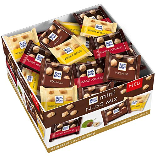Preisvergleich Produktbild RITTER SPORT mini Nuss Mix Thekendisplay (1, 1 kg),  Vollmilch,  Weiße & Dunkle Schokolade,  mit ganzen Haselnüssen,  knackige Tafelschokoladen,  Großpackung