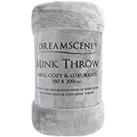 Dreamscene Luxury Faux Fur Mink Fleece Throw Over Sofa Bed Soft Warm Blanket, Silver, 150 x 200 cm, Double