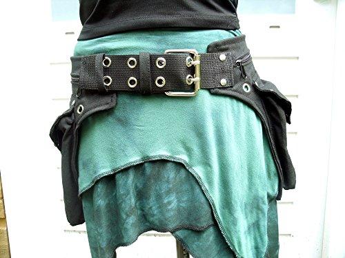 rinonera-doble-con-dos-bolsas-negra-con-hebilla-de-metal