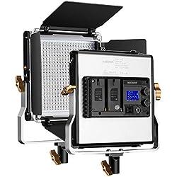 Neewer 480 LED Lumière Réglable Bi-Couleur et Montage en U Construction en Métal Durable avec LCD Écran 3200-5600K CRI 96+ LED Panneau et Coupeflux pour Photographie Studio Vidéo Tournage