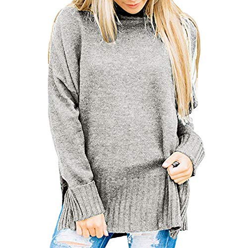 UJUNAOR Frauen Hochgeschlossenen Langärmeliges T-Shirt Pullover Hemd Bluse(Grau,CN S)