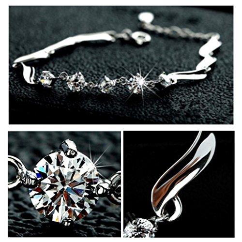 Silver Shoppee Angelic, Genuine Austrian Crystal Studded Sterling Silver Bracelet (SSBR1014)