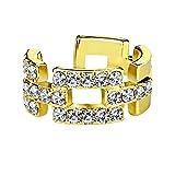 beyoutifulthings Ohr-klemme GLITZERNDE ZIRKONIA VIERECKE clear Ohringe Ohr-ringe Ohr-clip Fake-Piercing Messing Gold