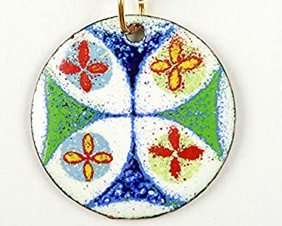 Pendentif croix de Jérusalem émail sur cuivre